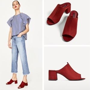Zara Red Suede Block Mules Sandals Shoes